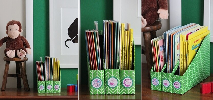 DIY Book Storage Using Cereal Boxes
