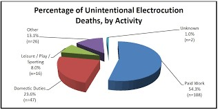 percentage of unintentional electrocution deaths by activity -  securing family